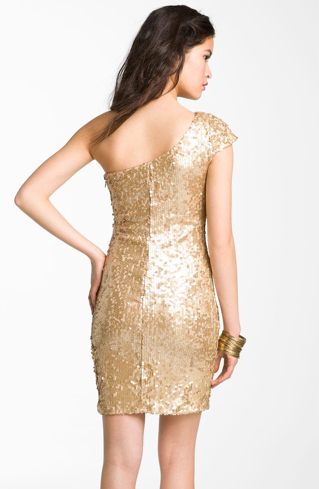 Alternate Image 2  - Jump Apparel One Shoulder Sequin Dress (Juniors)