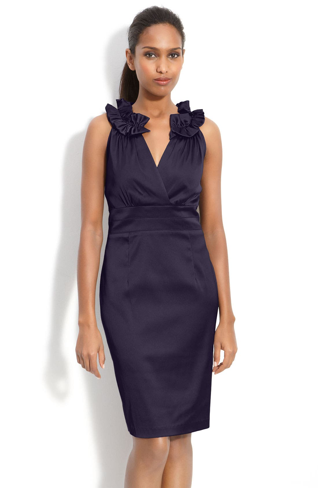 Alternate Image 1 Selected - Donna Ricco Pleat Trim Mock Two-Piece Sheath Dress (Petite)