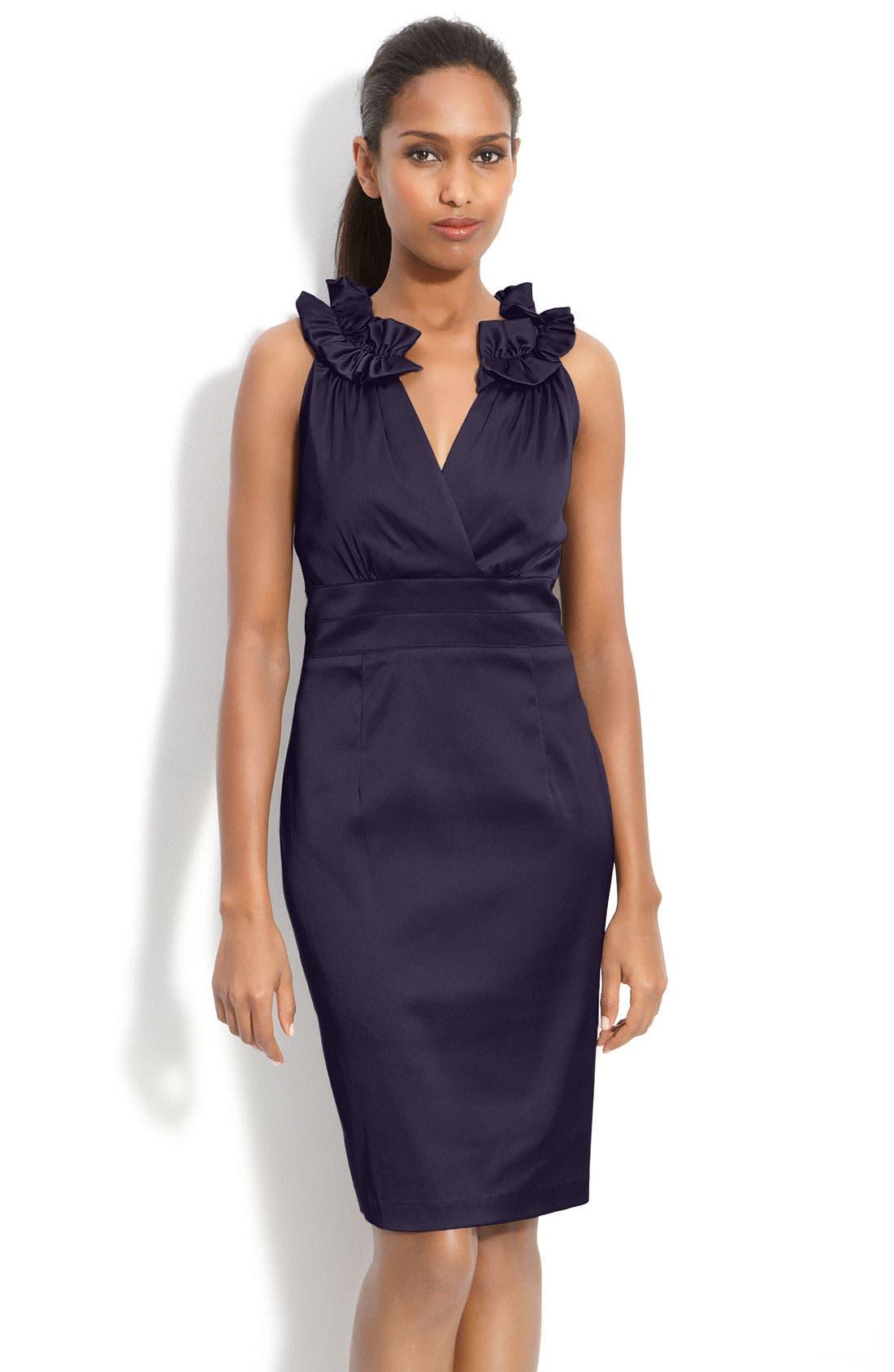 Main Image - Donna Ricco Pleat Trim Mock Two-Piece Sheath Dress (Petite)
