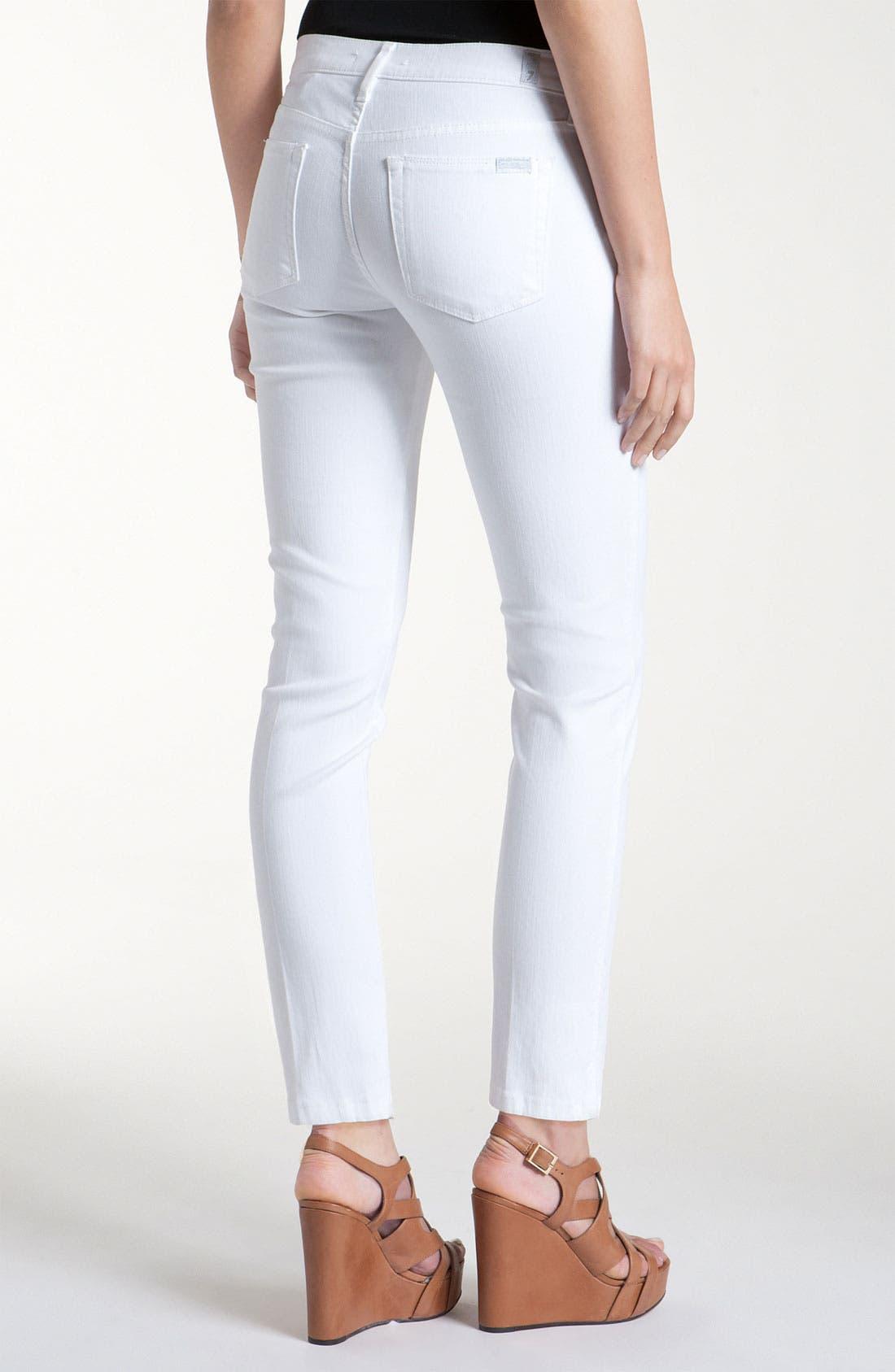 Alternate Image 2  - 7 For All Mankind® Slim Leg Ankle Jeans (White Wash)