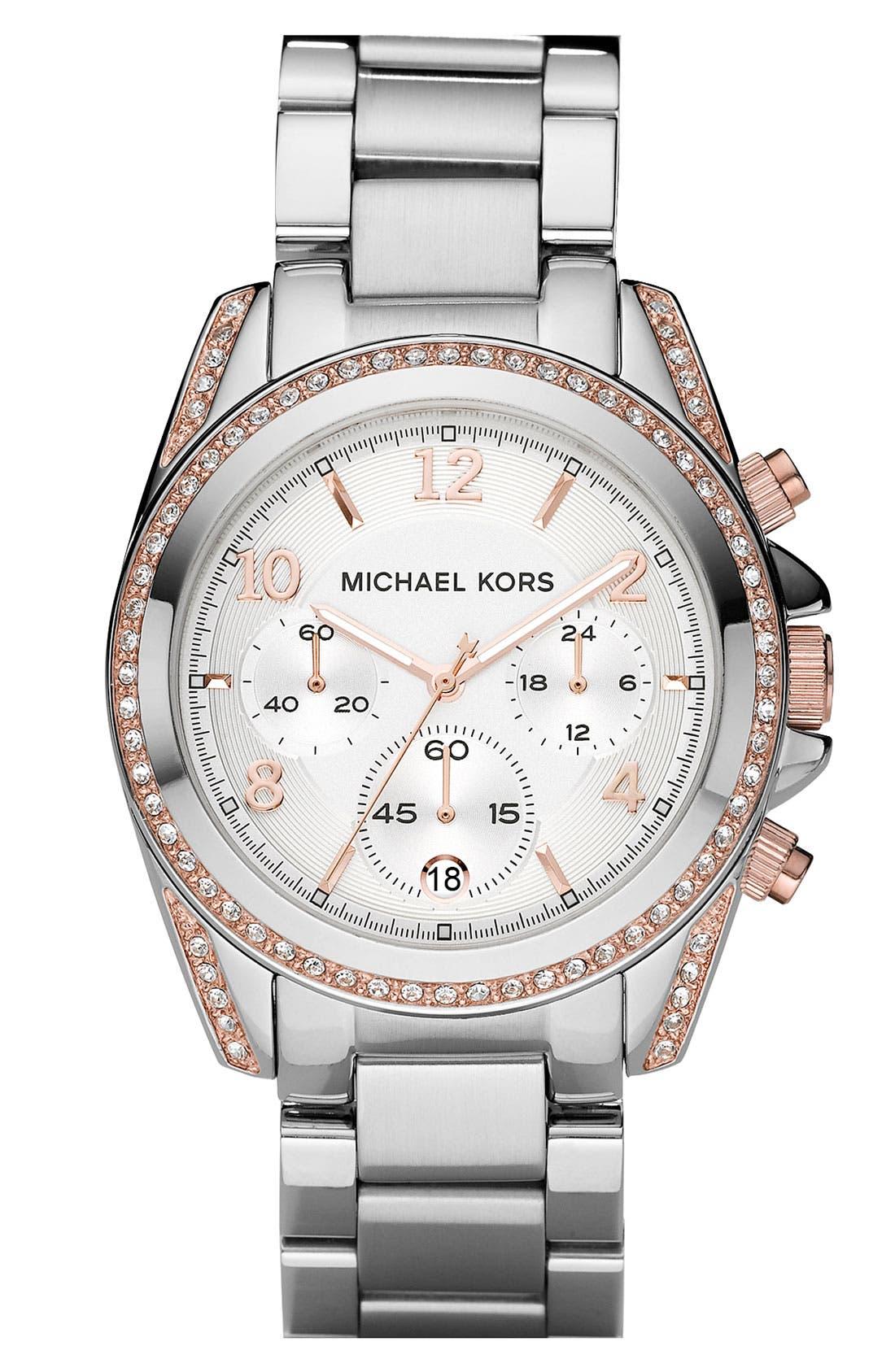 Main Image - Michael Kors 'Blair' Crystal Chronograph Watch, 39mm
