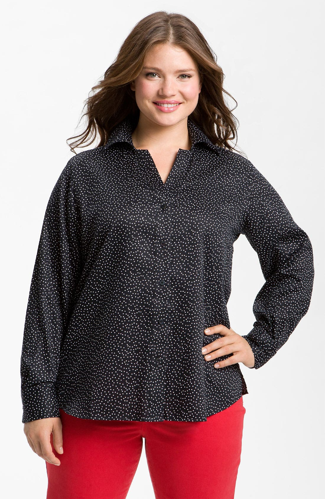 Alternate Image 1 Selected - Foxcroft 'Scattered Dots' Shirt (Plus)