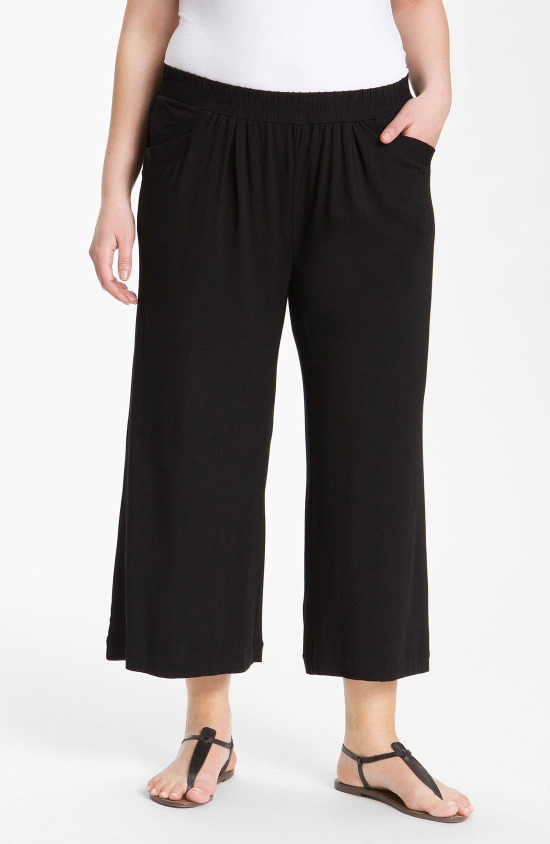 Main Image - Sejour Wide Leg Crop Knit Pants (Plus)