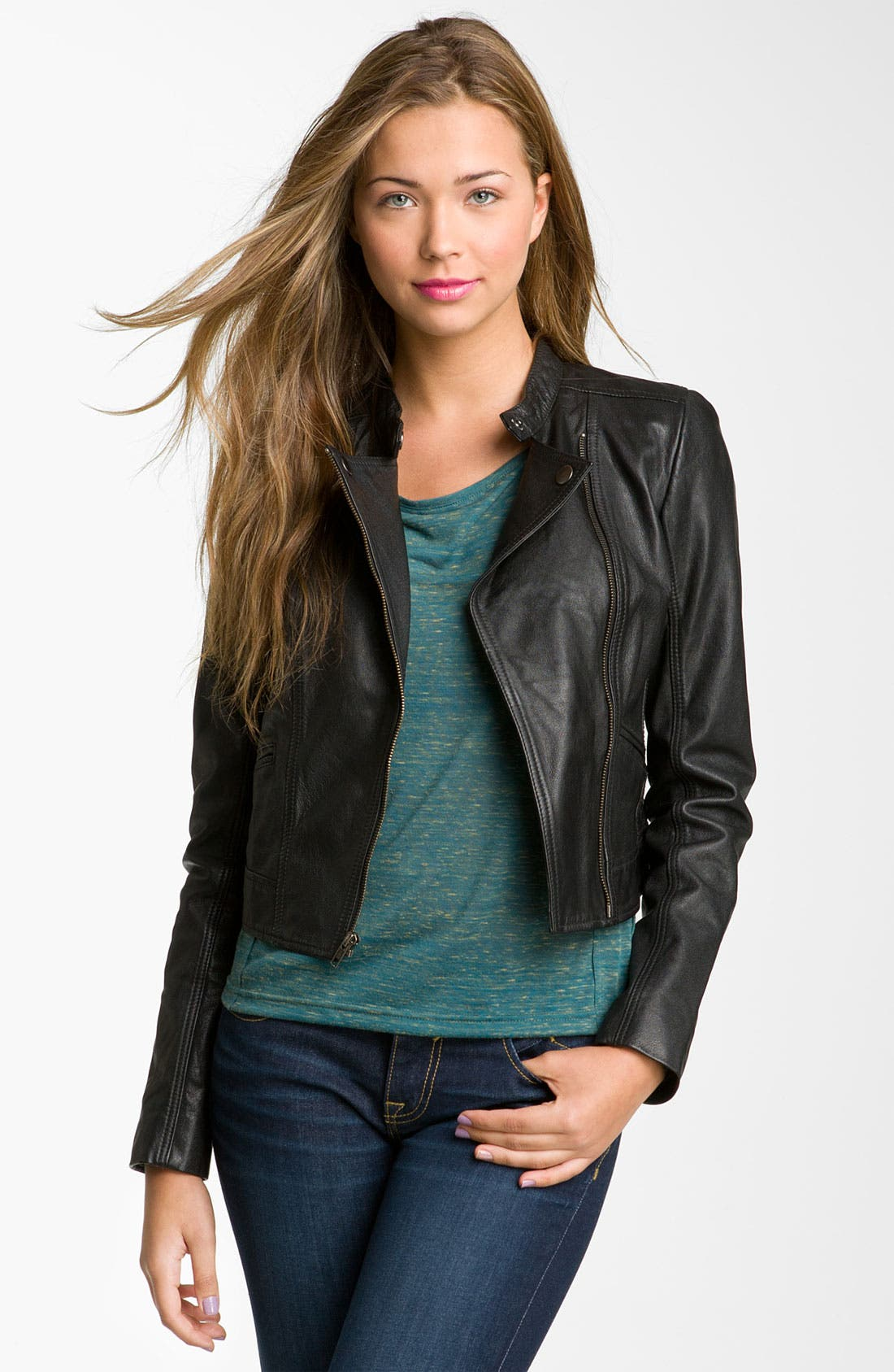 Alternate Image 1 Selected - Rubbish® Crop Leather Biker Jacket (Juniors)