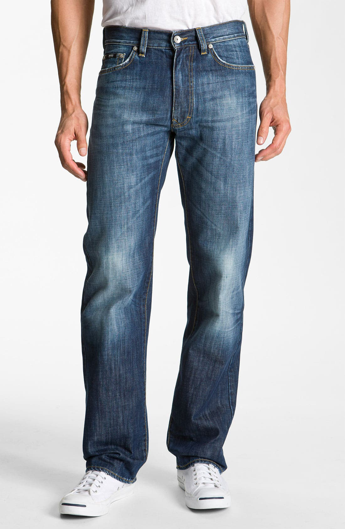 Alternate Image 2  - BOSS Black 'Texas' Bootcut Jeans (Blue Rinse)