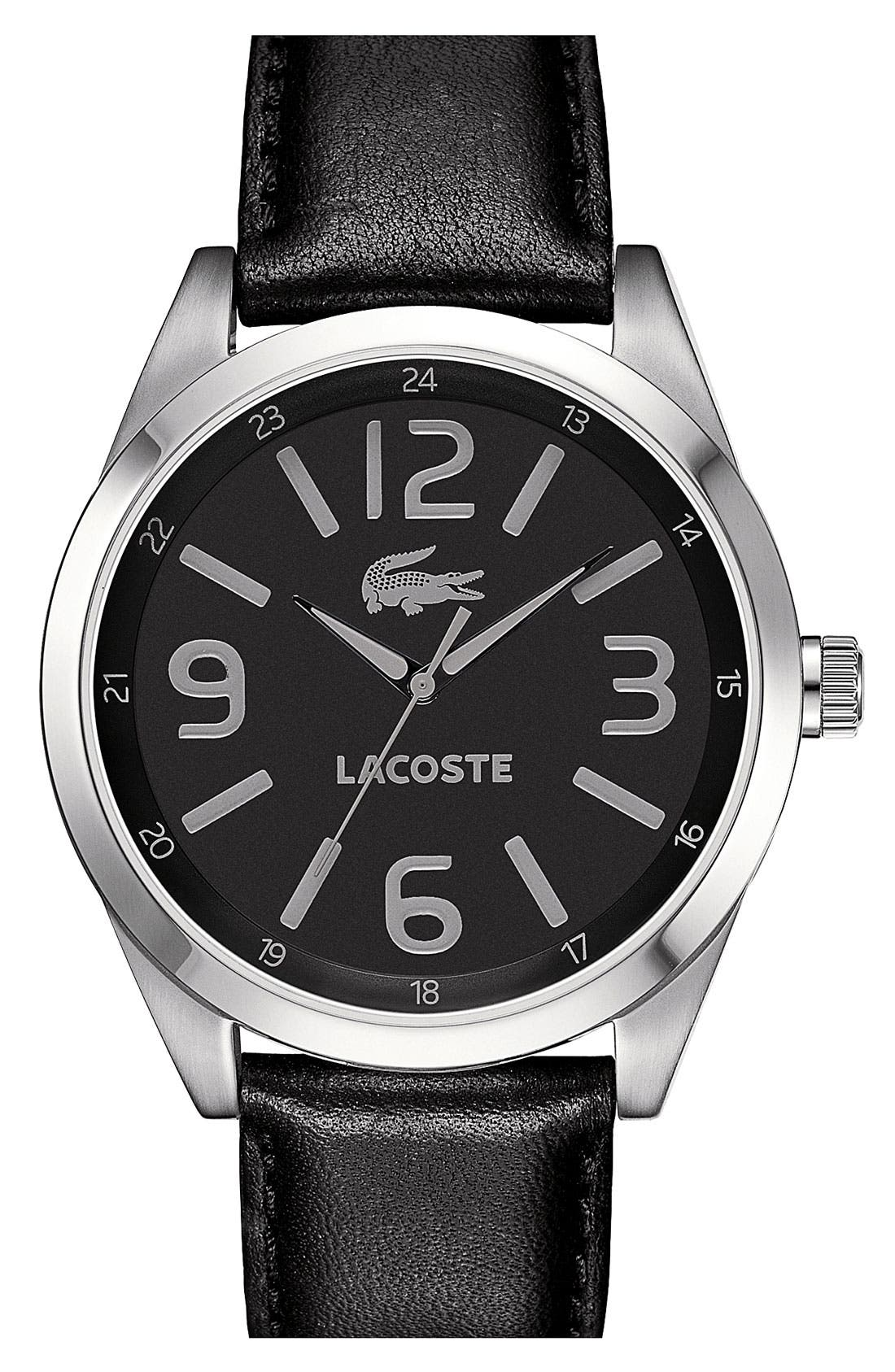 Alternate Image 1 Selected - Lacoste 'Montreal' Leather Strap Watch