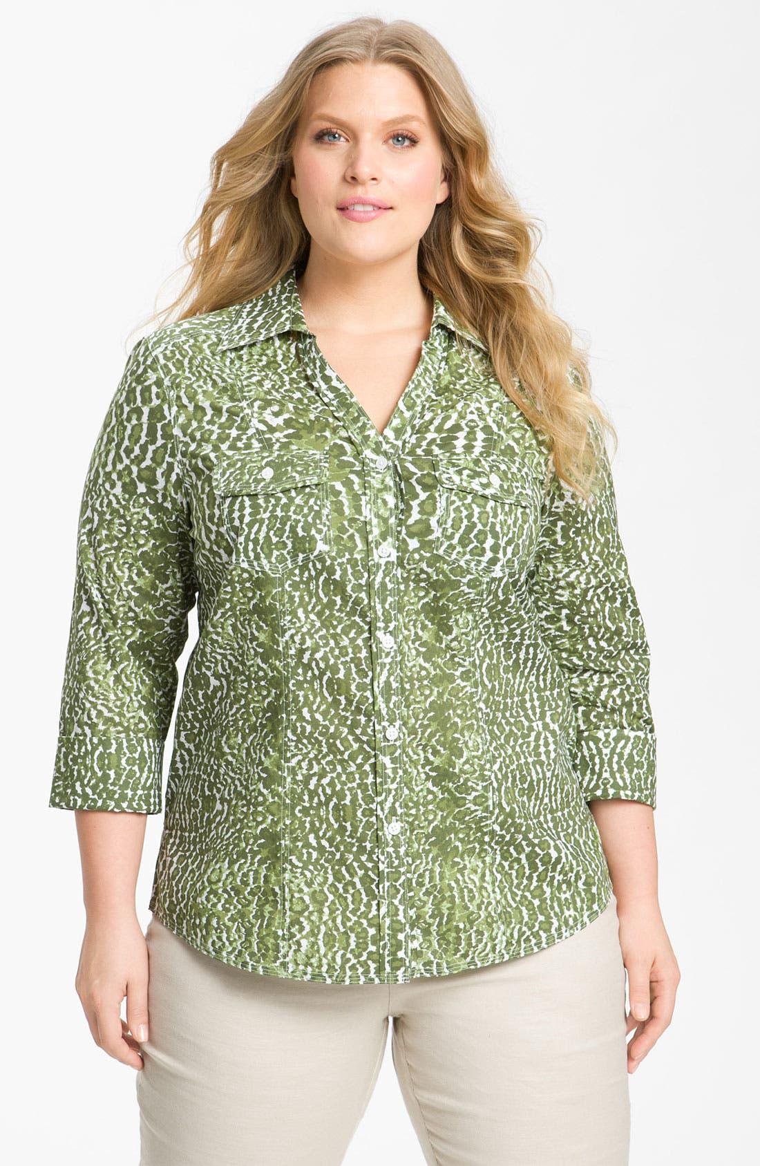 Alternate Image 1 Selected - Foxcroft Leopard Print Shaped Shirt (Plus)