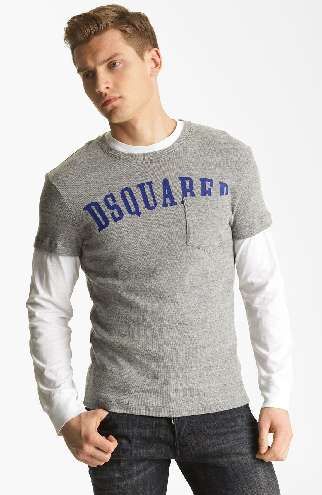 Alternate Image 1 Selected - Dsquared2 Rib Knit Long Sleeve Two-Piece T-Shirt