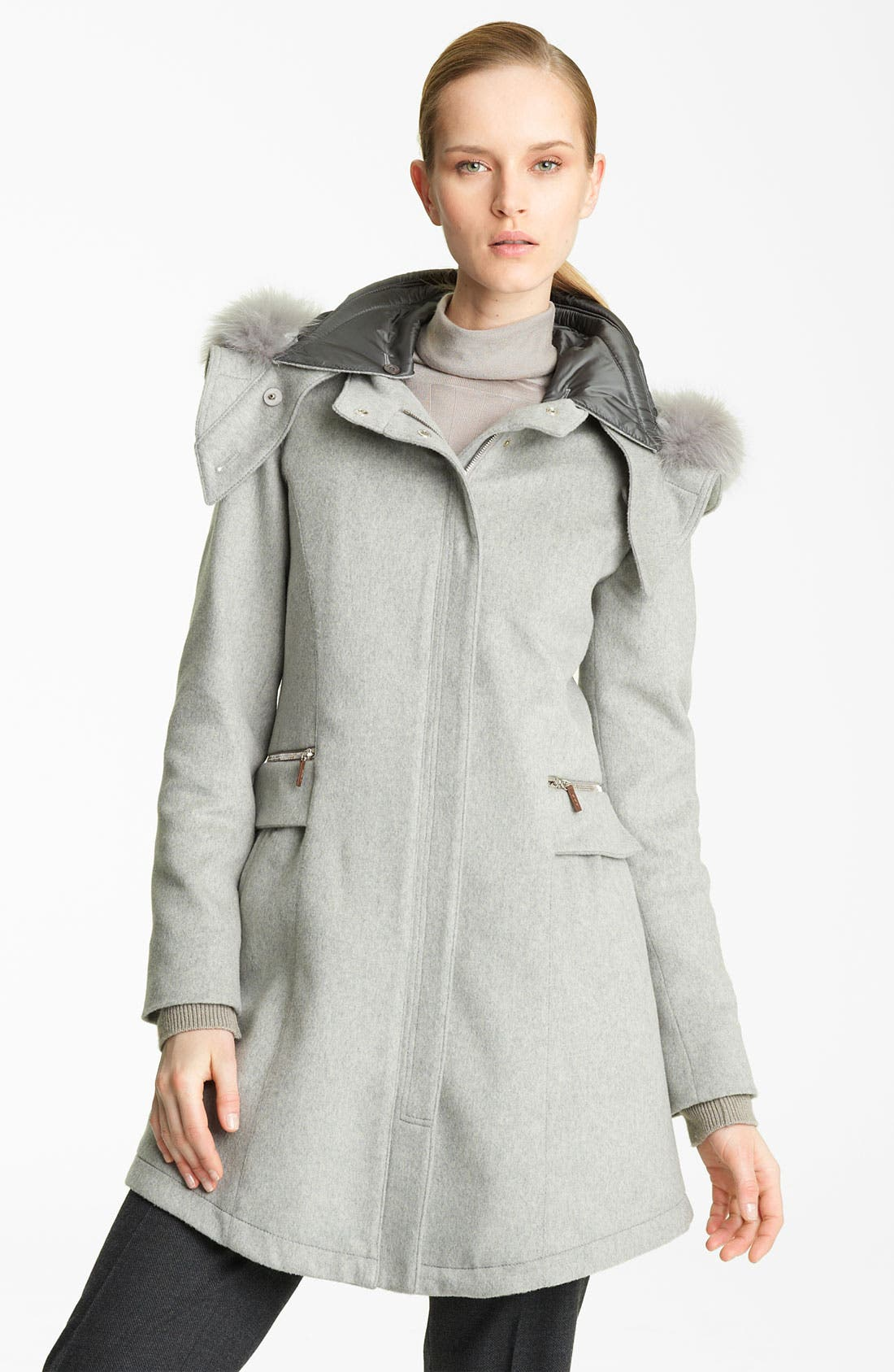 Main Image - Fabiana Filippi Fox Fur Trim Wool Blend Coat
