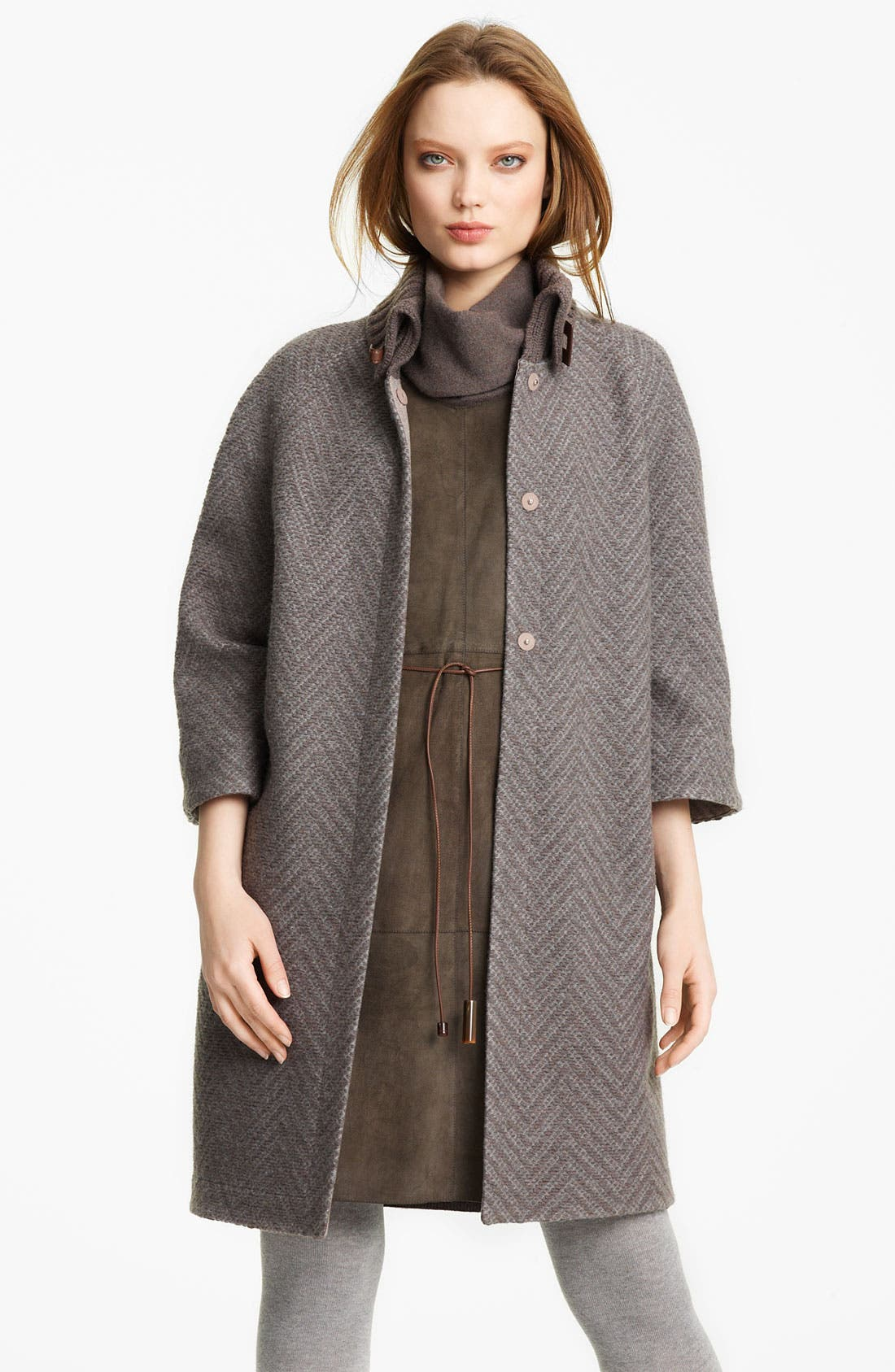 Alternate Image 1 Selected - Fabiana Filippi Knit Collar Coat