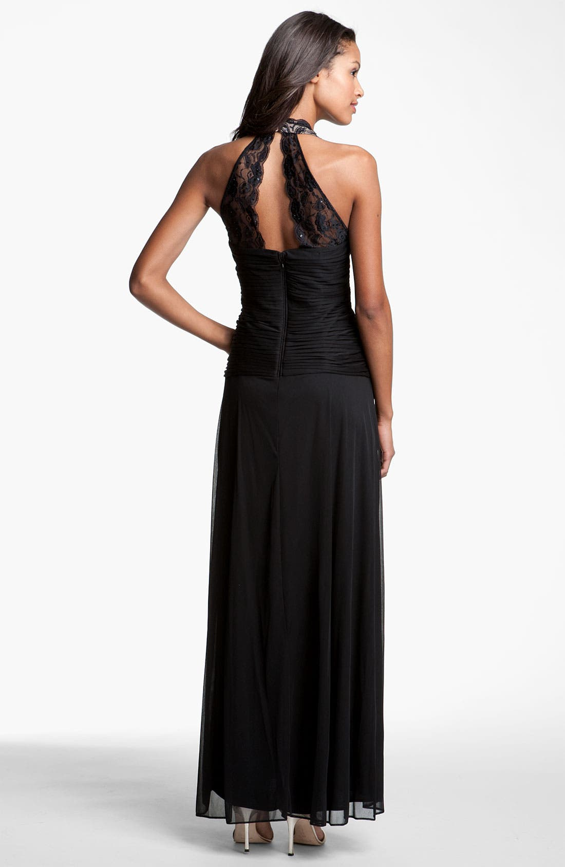 Alternate Image 2  - Betsy & Adam Lace & Mesh Halter Gown