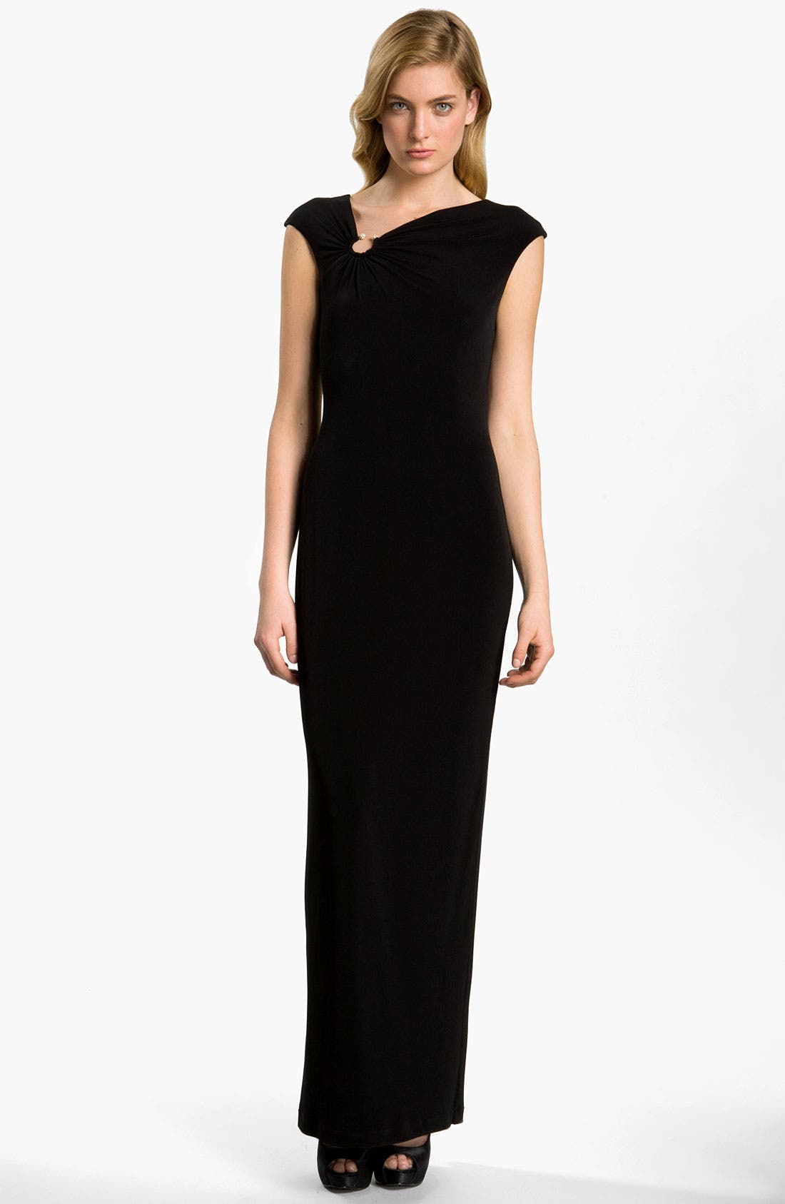 Alternate Image 1 Selected - Calvin Klein Asymmetrical Neck Jersey Gown
