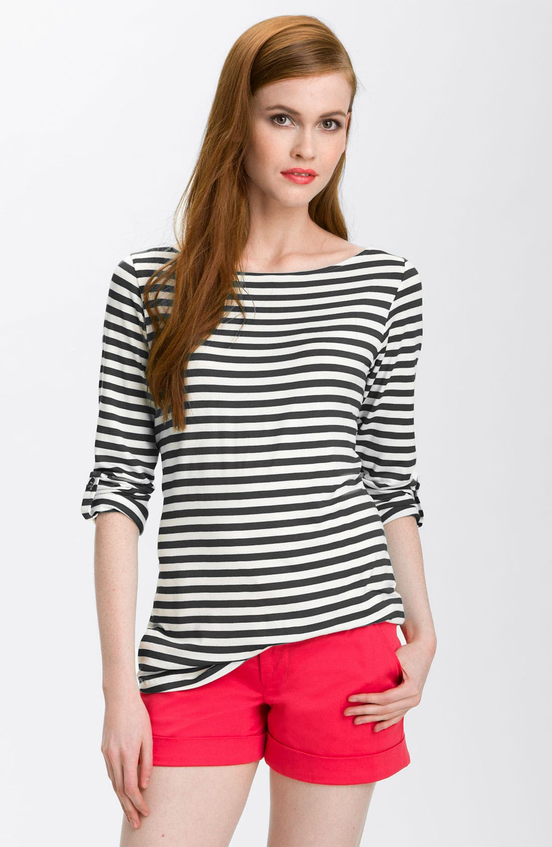 Alternate Image 1 Selected - Bobeau Stripe Roll Sleeve Top