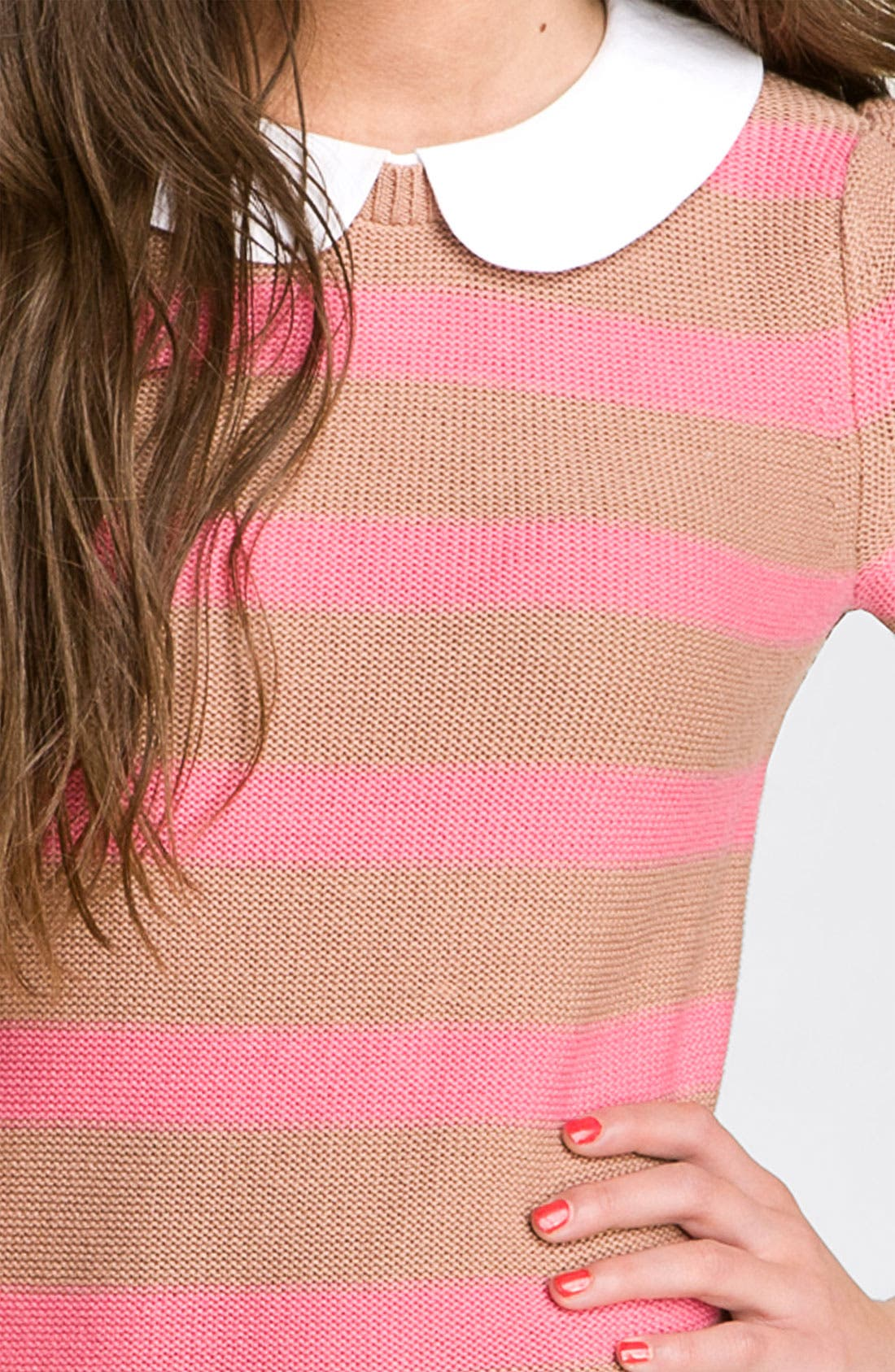 Alternate Image 3  - Frenchi® Peter Pan Collar Stripe Sweater (Juniors)
