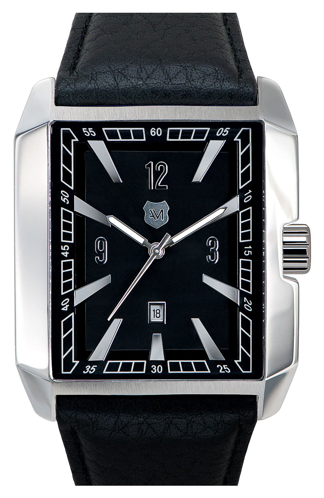 Alternate Image 1 Selected - Andrew Marc Watches 'Club Hipster' Rectangular Leather Strap Watch