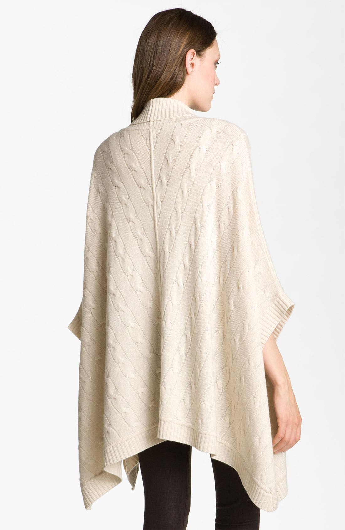 Alternate Image 2  - Nordstrom Collection Merino Wool & Cashmere Cable Knit Poncho