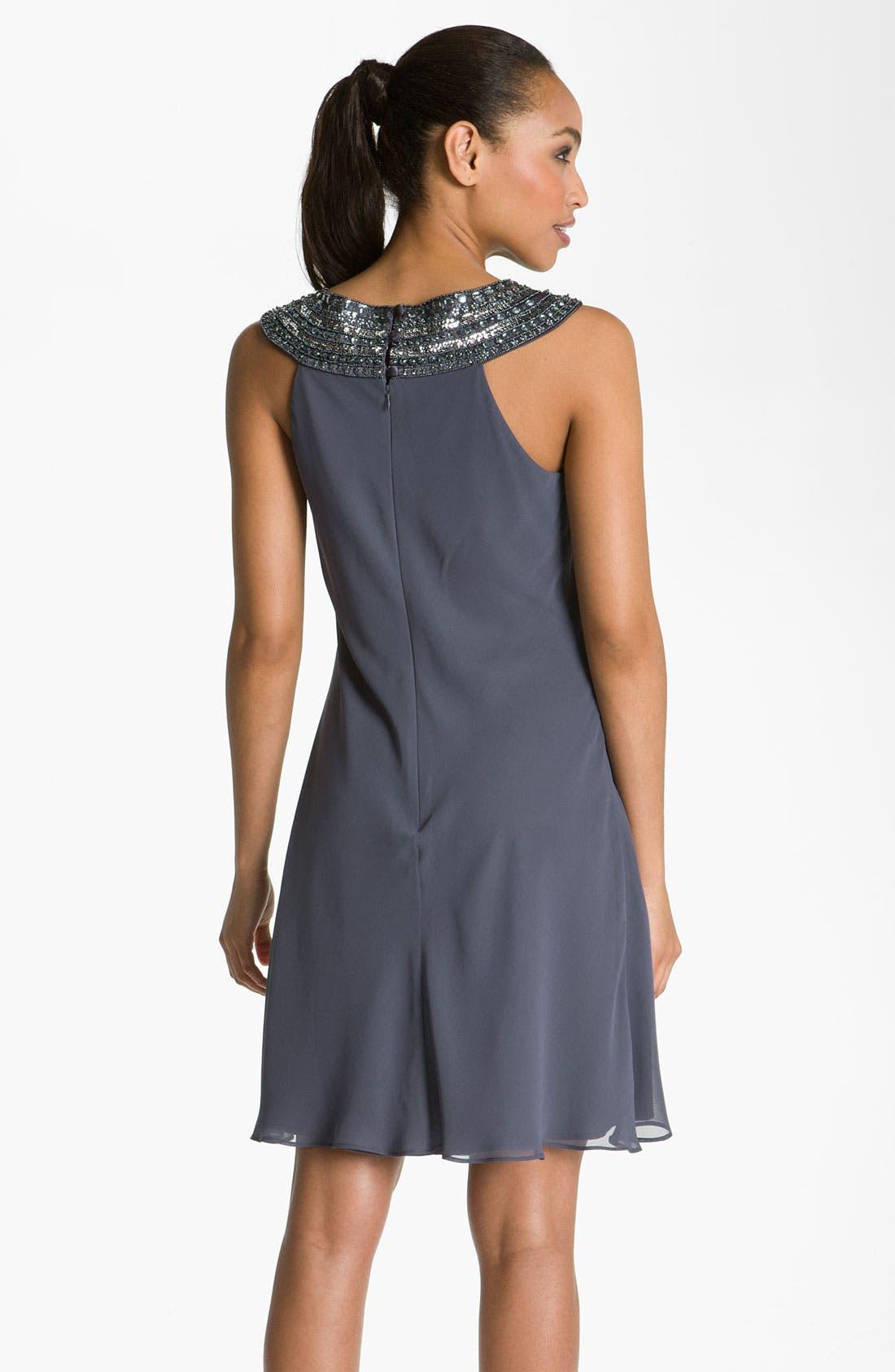 Alternate Image 2  - JS Boutique Beaded Chiffon Trapeze Dress