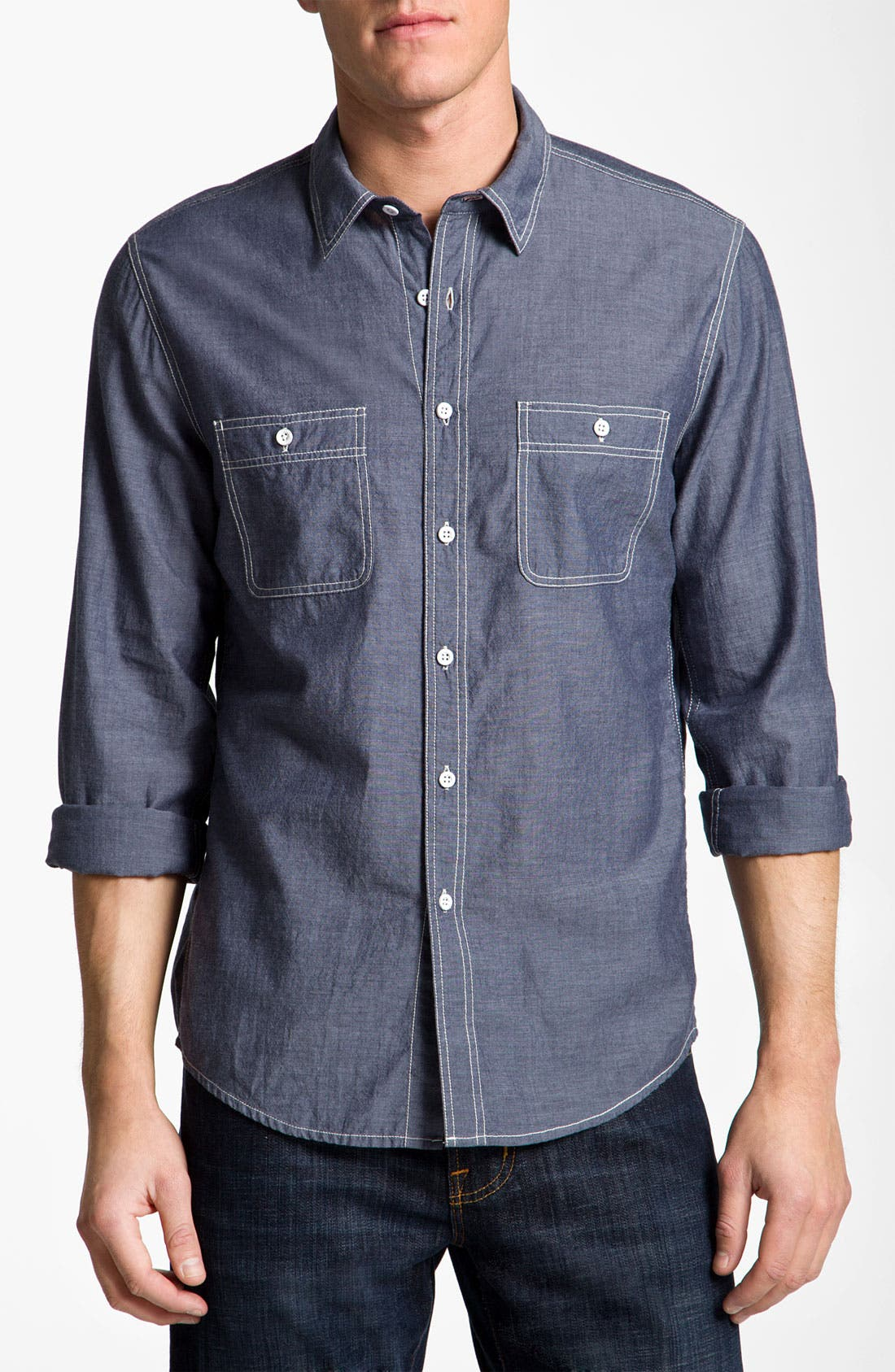 Alternate Image 1 Selected - AG Jeans Chambray Sport Shirt
