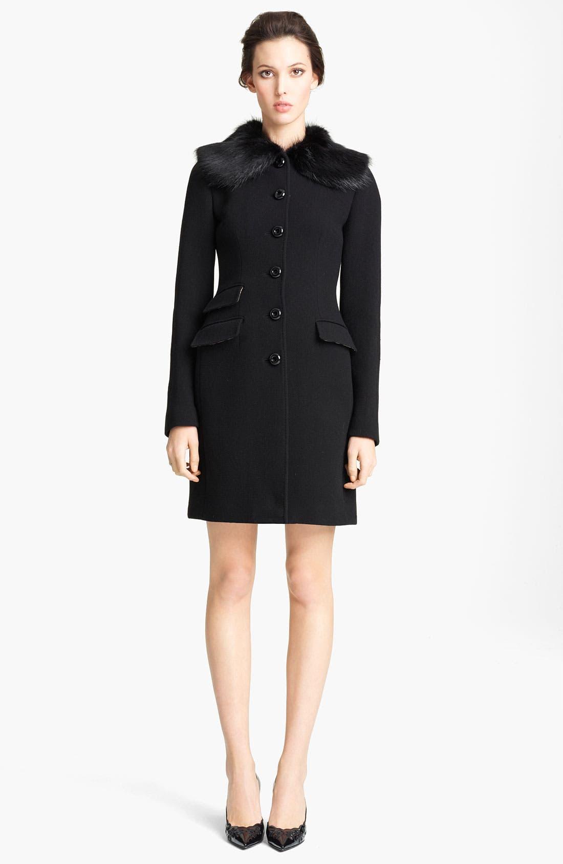 Main Image - Dolce&Gabbana Genuine Fur Collar Wool Blend Coat