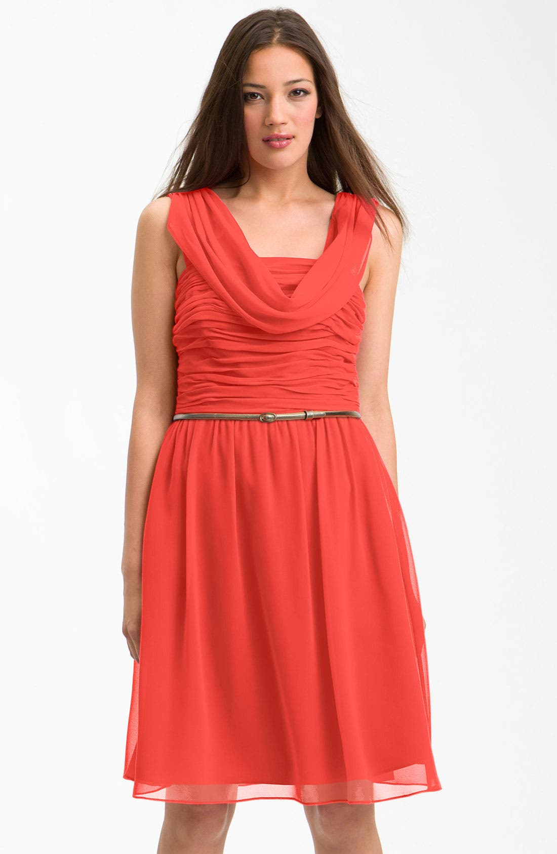 Main Image - Donna Morgan Cowl Neck Ruched Bodice Chiffon Dress