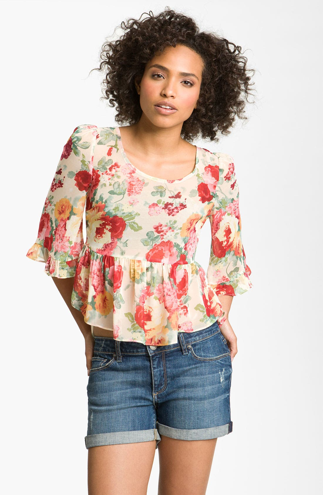 Alternate Image 1 Selected - Line & Dot Floral Peplum Top