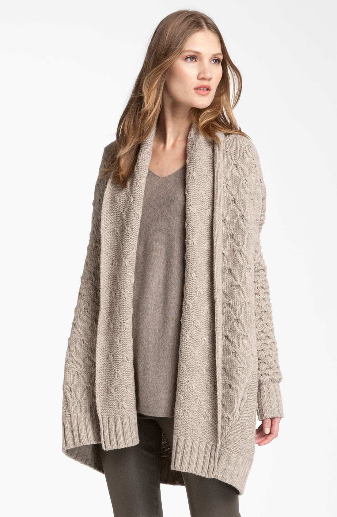 Alternate Image 1 Selected - Vince Mixed Knit Oversized Cardigan