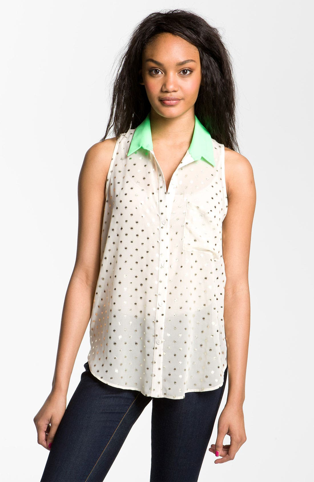 Main Image - Lush Foil Dot Sleeveless Shirt (Juniors)