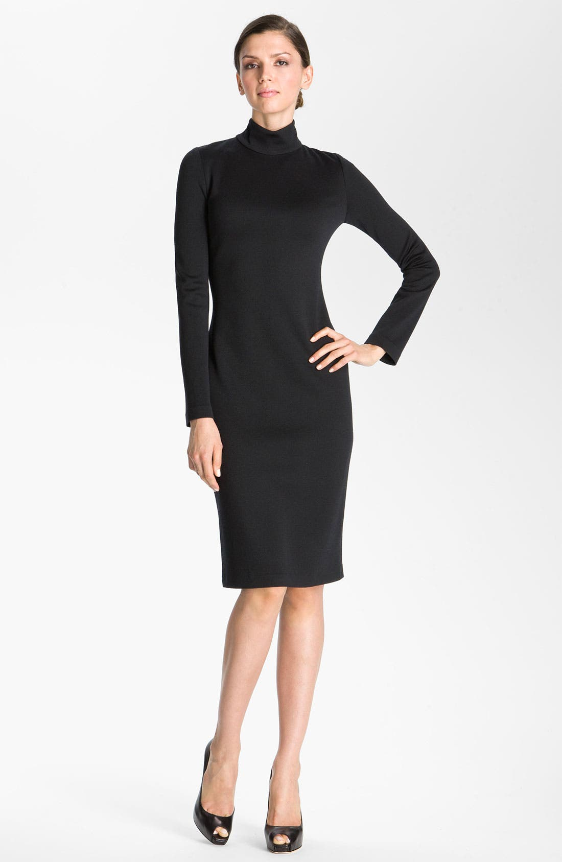 Main Image - St. John Collection Milano Knit Turtleneck Dress