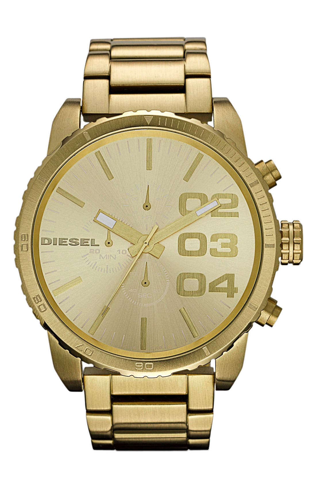 Alternate Image 1 Selected - DIESEL® 'Double Down' Large Chronograph Bracelet Watch, 52mm