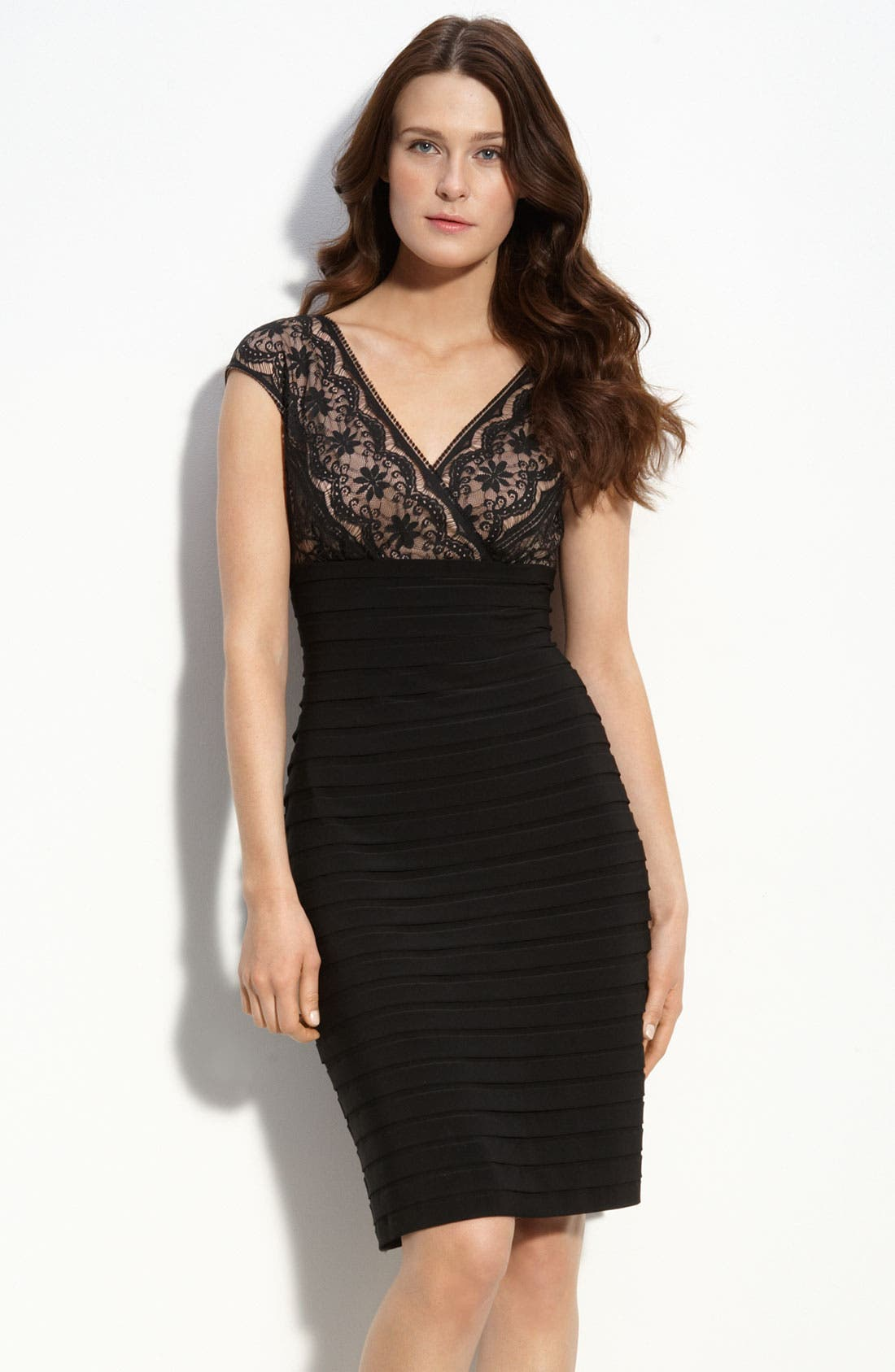 Alternate Image 1 Selected - Adrianna Papell Lace & Shutter Pleat Dress (Petite)