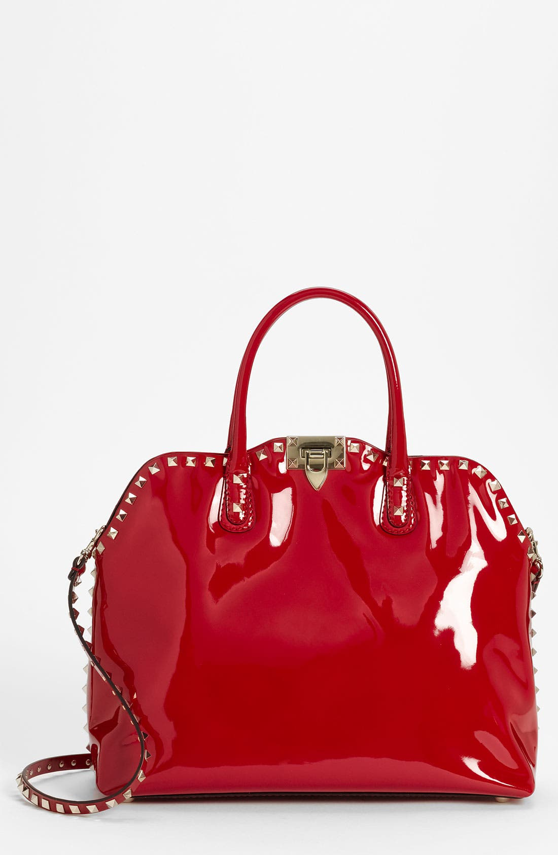 Main Image - Valentino 'Rockstud' Patent Leather Dome Handbag