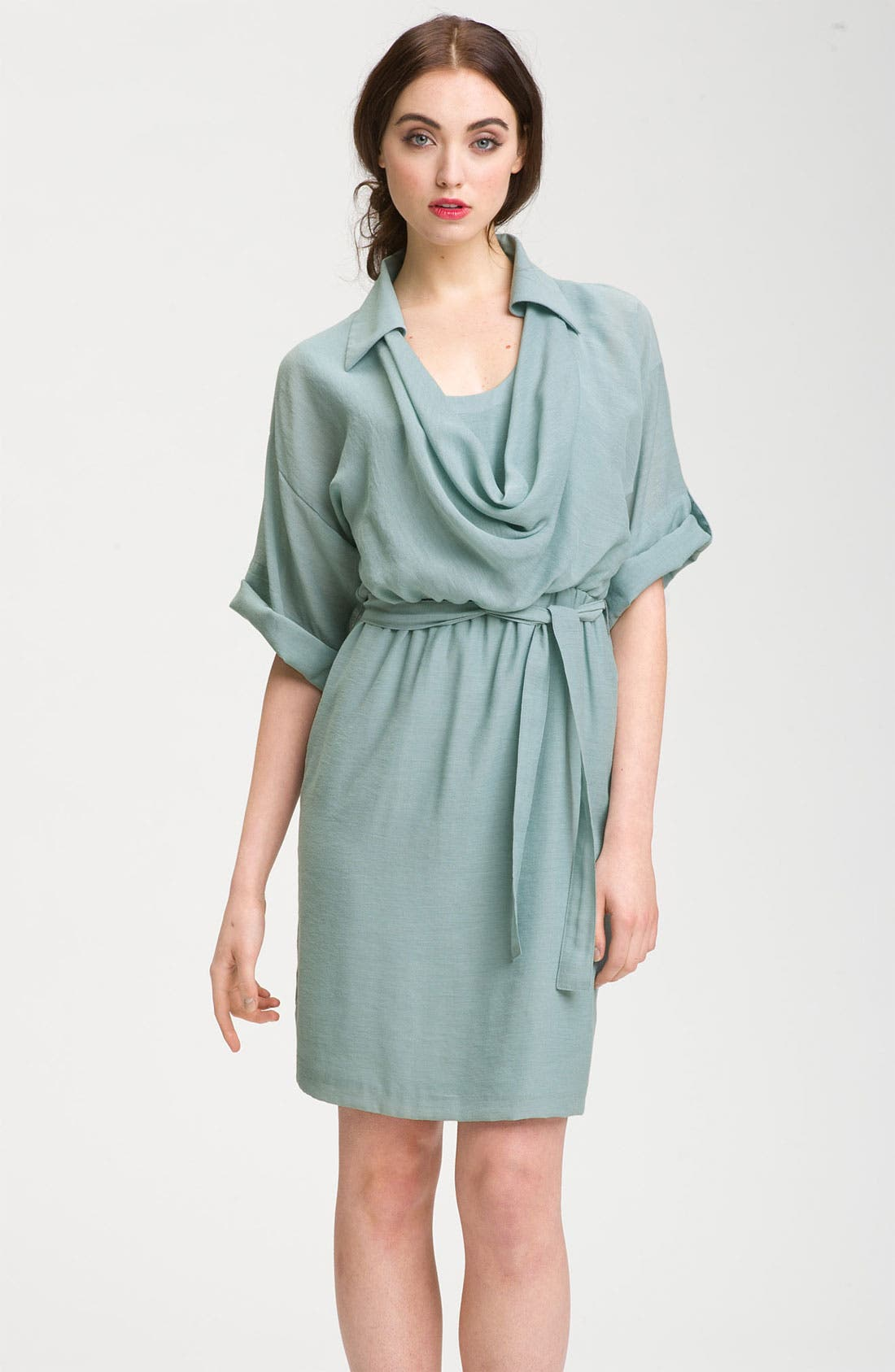 Alternate Image 1 Selected - Maggy London Cowl Neck Gauze Shirtdress (Petite)