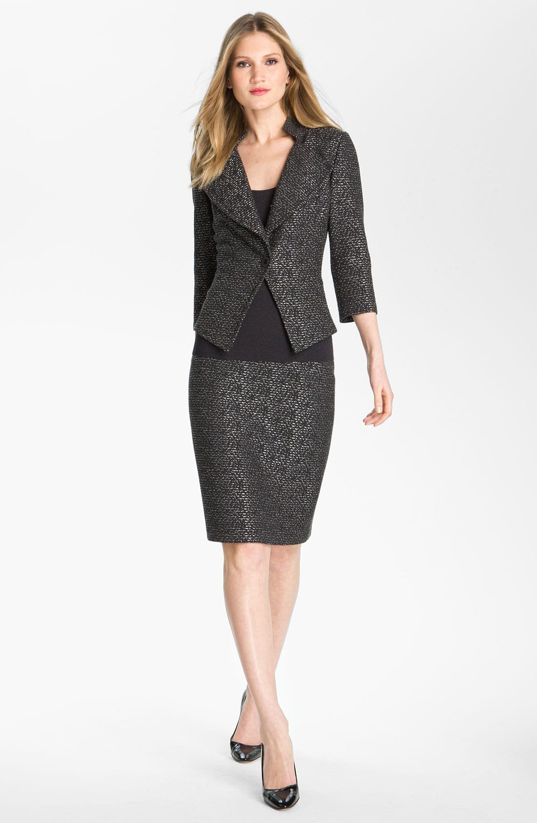 Main Image - St. John Collection Pebble Dash Tweed Knit Skirt