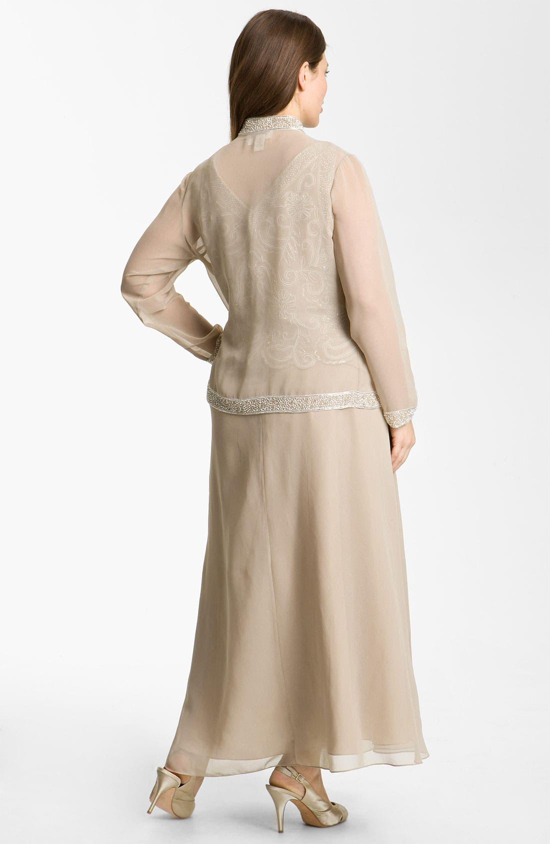 Alternate Image 2  - J Kara Sheer Beaded Chiffon Gown & Jacket (Plus)