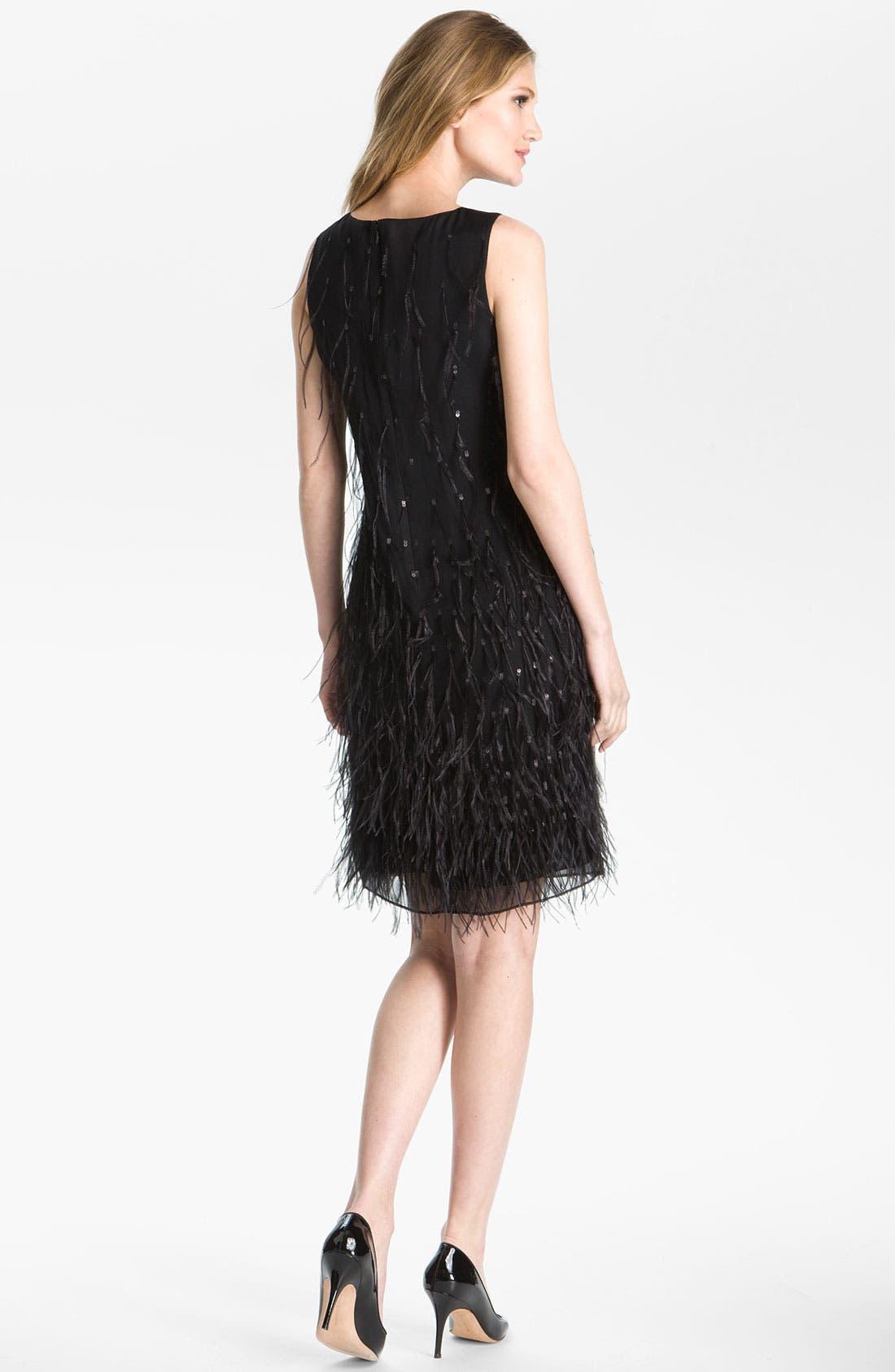 Alternate Image 2  - St. John Collection Feather & Sequin Silk Chiffon Shift Dress