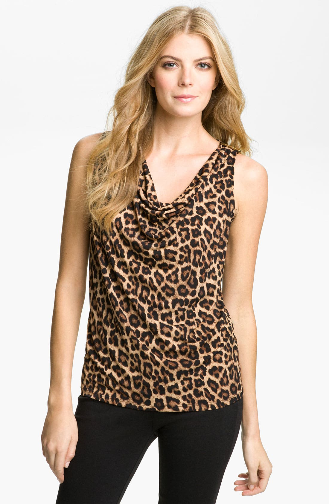 Alternate Image 1 Selected - MICHAEL Michael Kors Jaguar Print Cowl Neck Top (Petite)