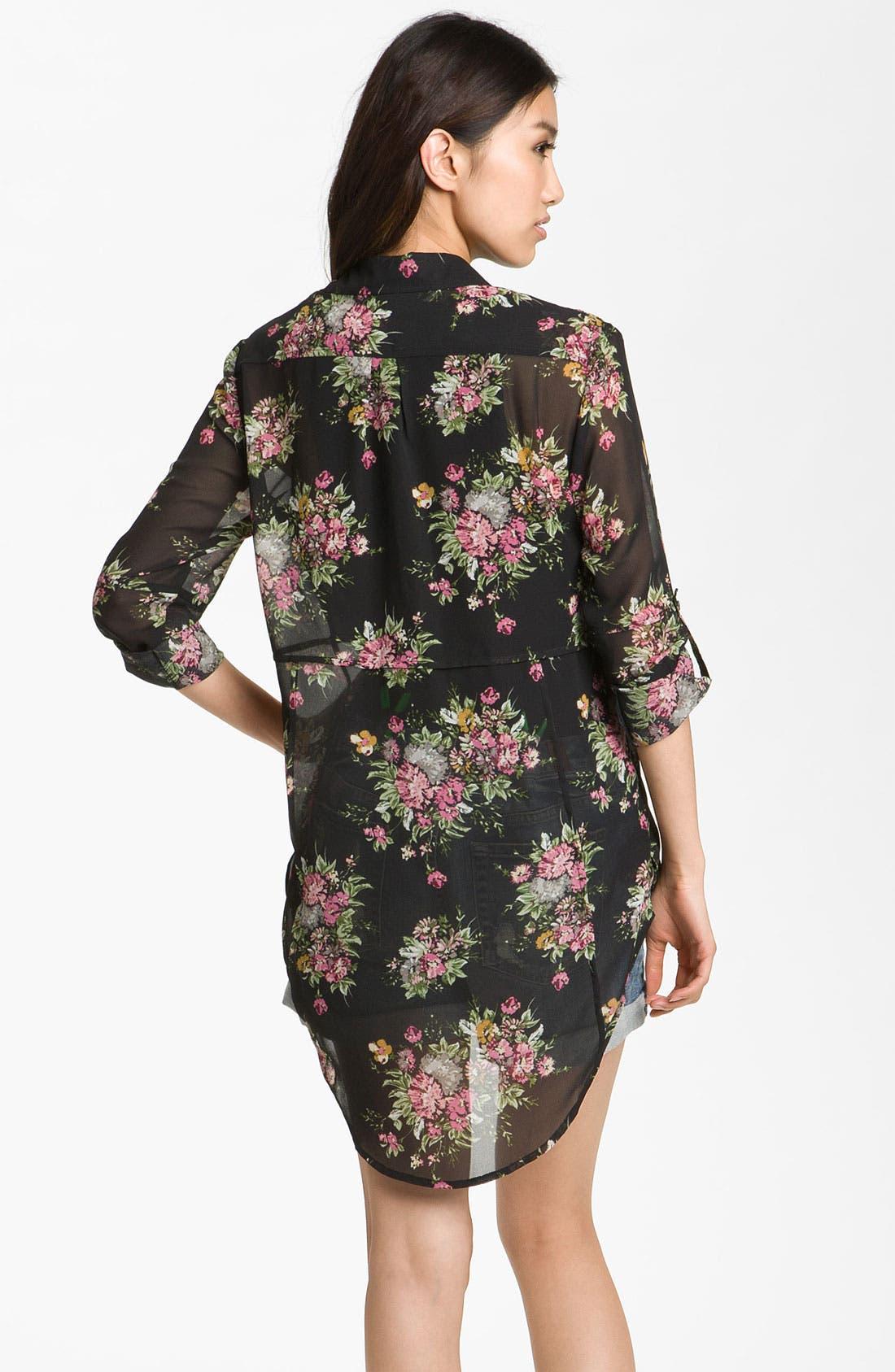 Alternate Image 2  - Line & Dot Oversized Vintage Floral Shirt