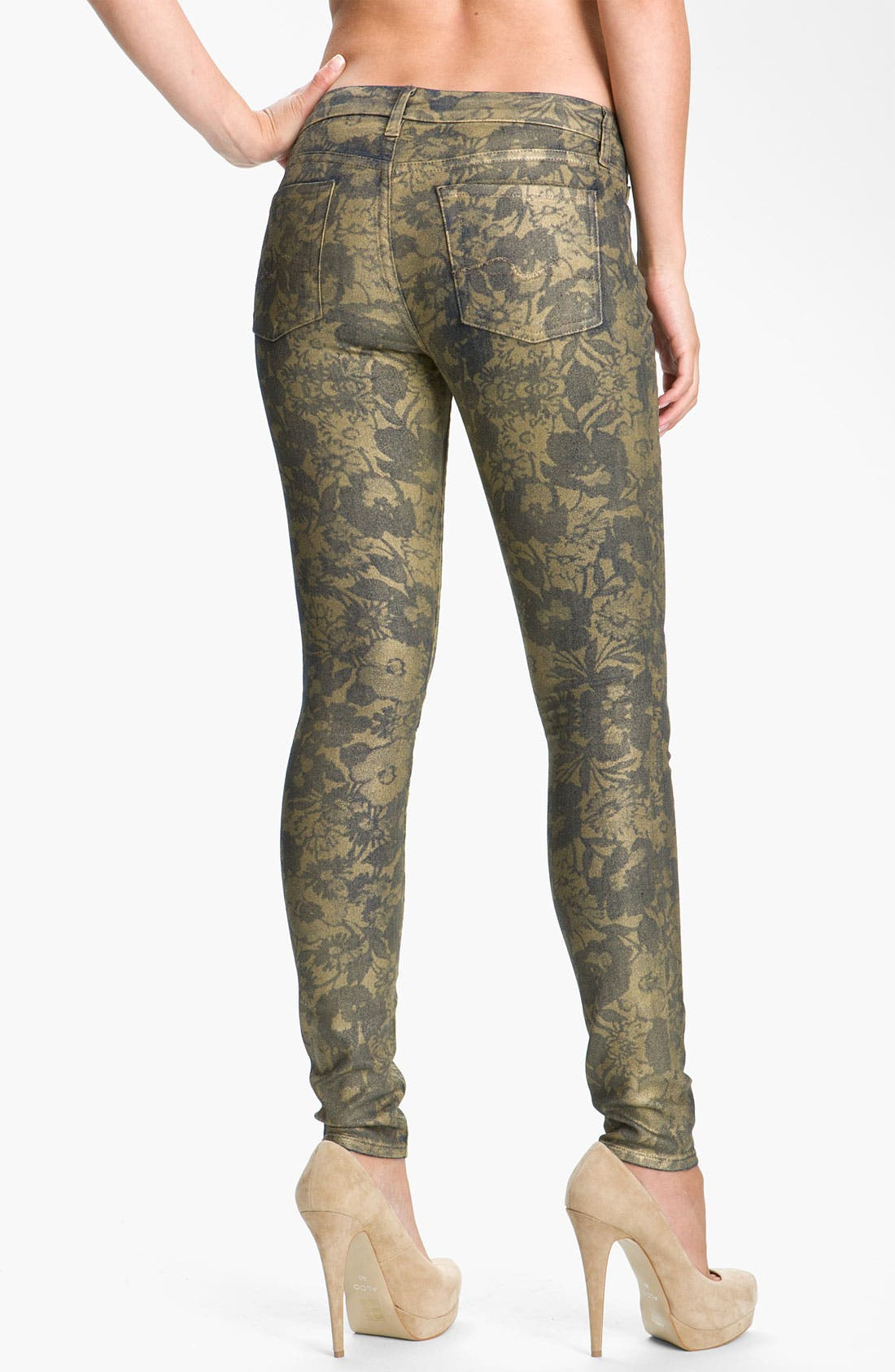 Alternate Image 2  - 7 For All Mankind® 'The Skinny' Skinny Stretch Jeans (Laser Gold Foil)