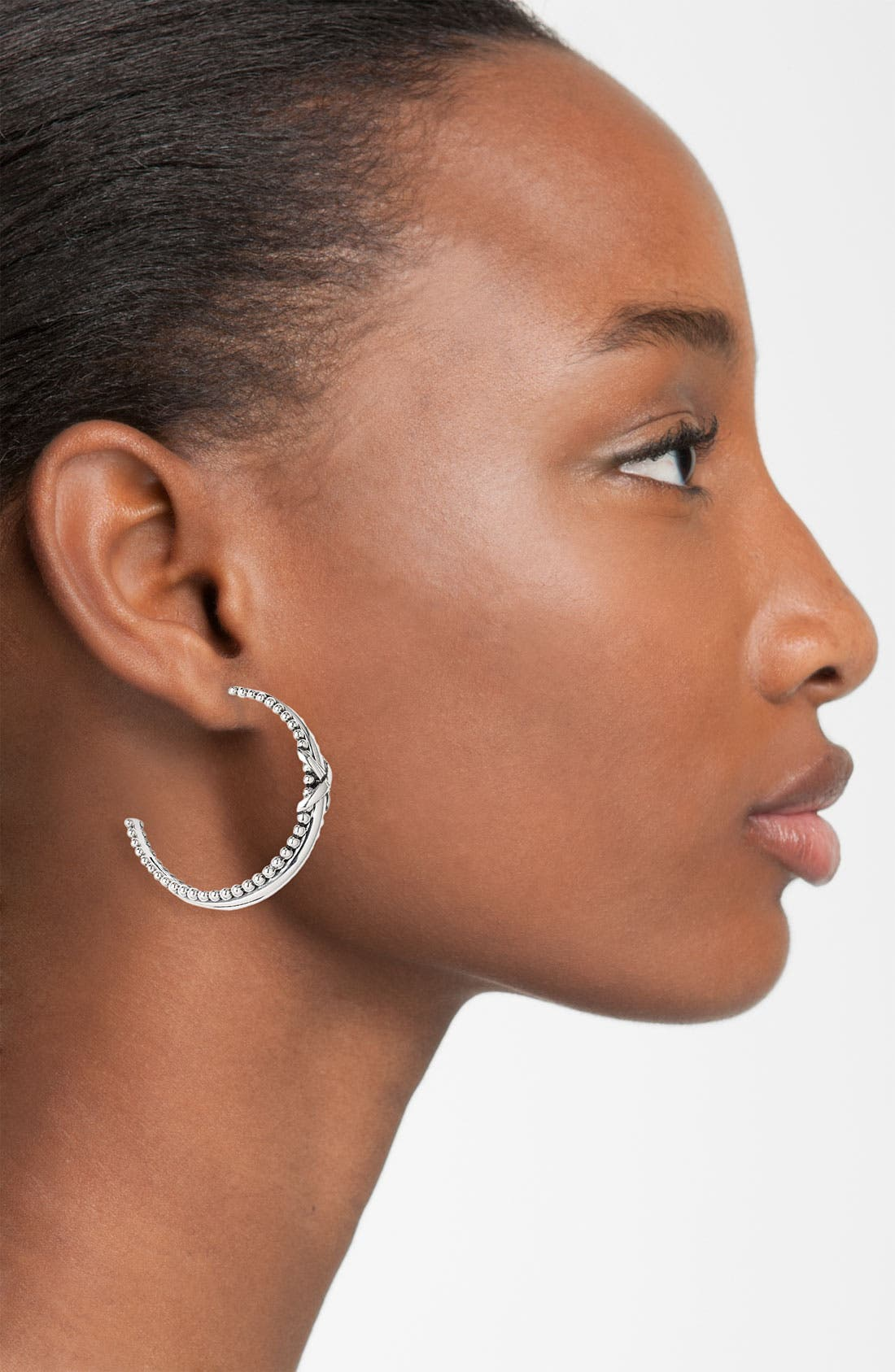 Alternate Image 2  - LAGOS 'X' Caviar Tapered Hoop Earrings