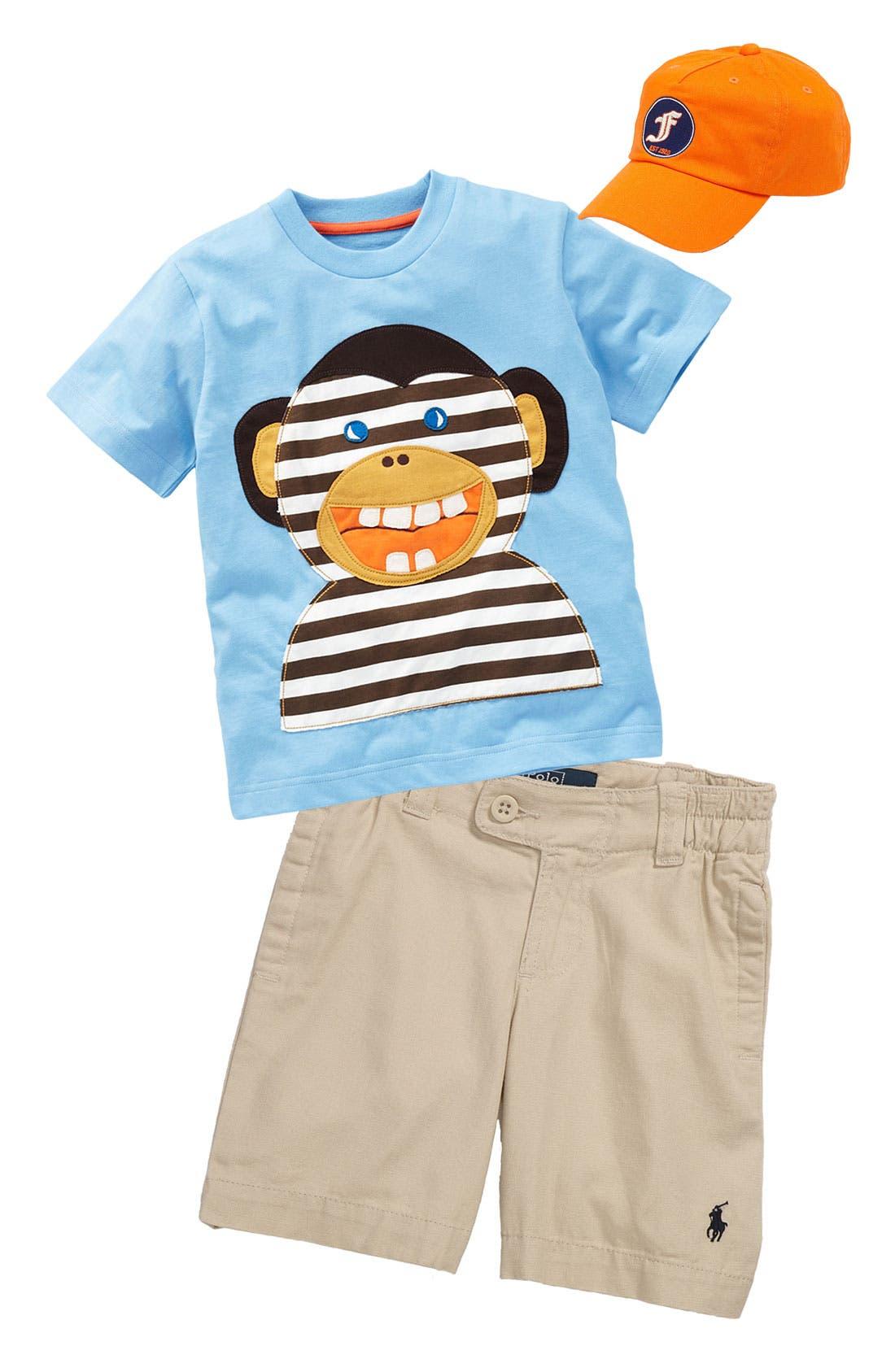 Main Image - Mini Boden T-Shirt & Ralph Lauren Shorts (Toddler)