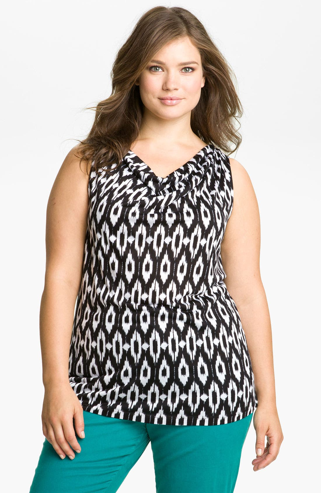 Alternate Image 1 Selected - Olivia Moon Sleeveless Drape Front Knit Top (Plus Size)