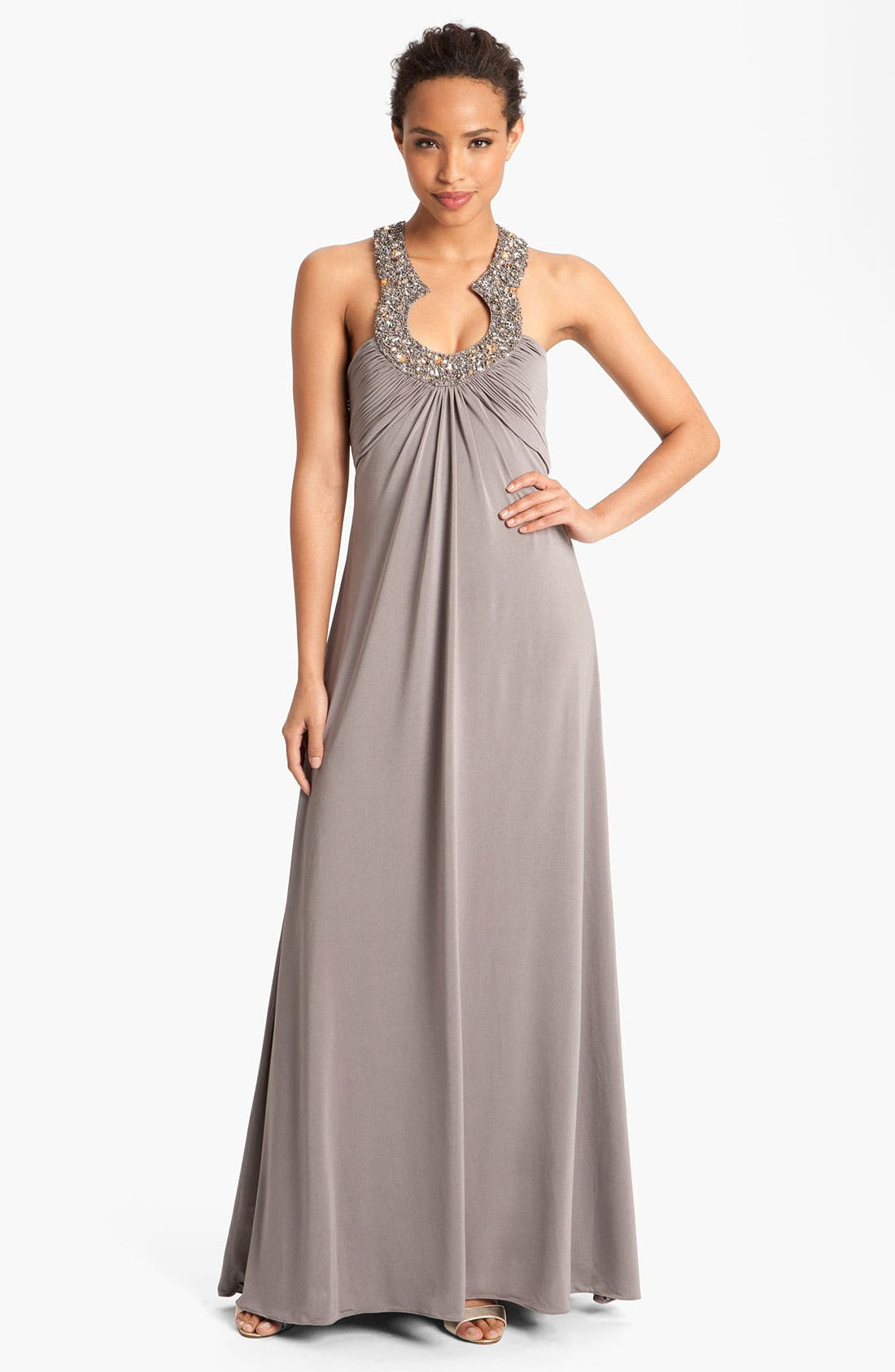 Alternate Image 1 Selected - JS Boutique Embellished Charmeuse Gown