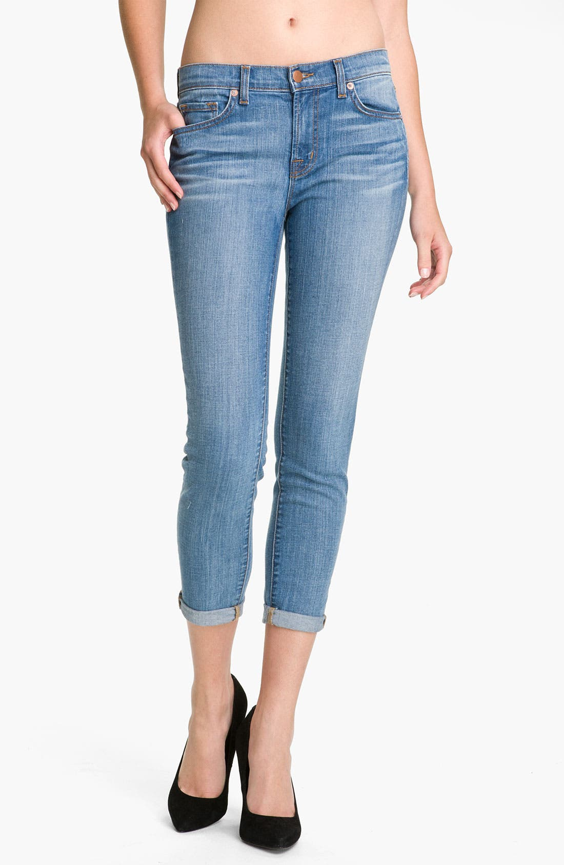 Alternate Image 1 Selected - J Brand Crop Stretch Jeans (Caicos)