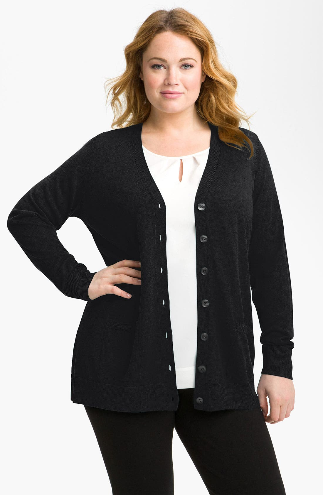 Alternate Image 1 Selected - Sejour Ribbed Two Pocket Cardigan (Plus)