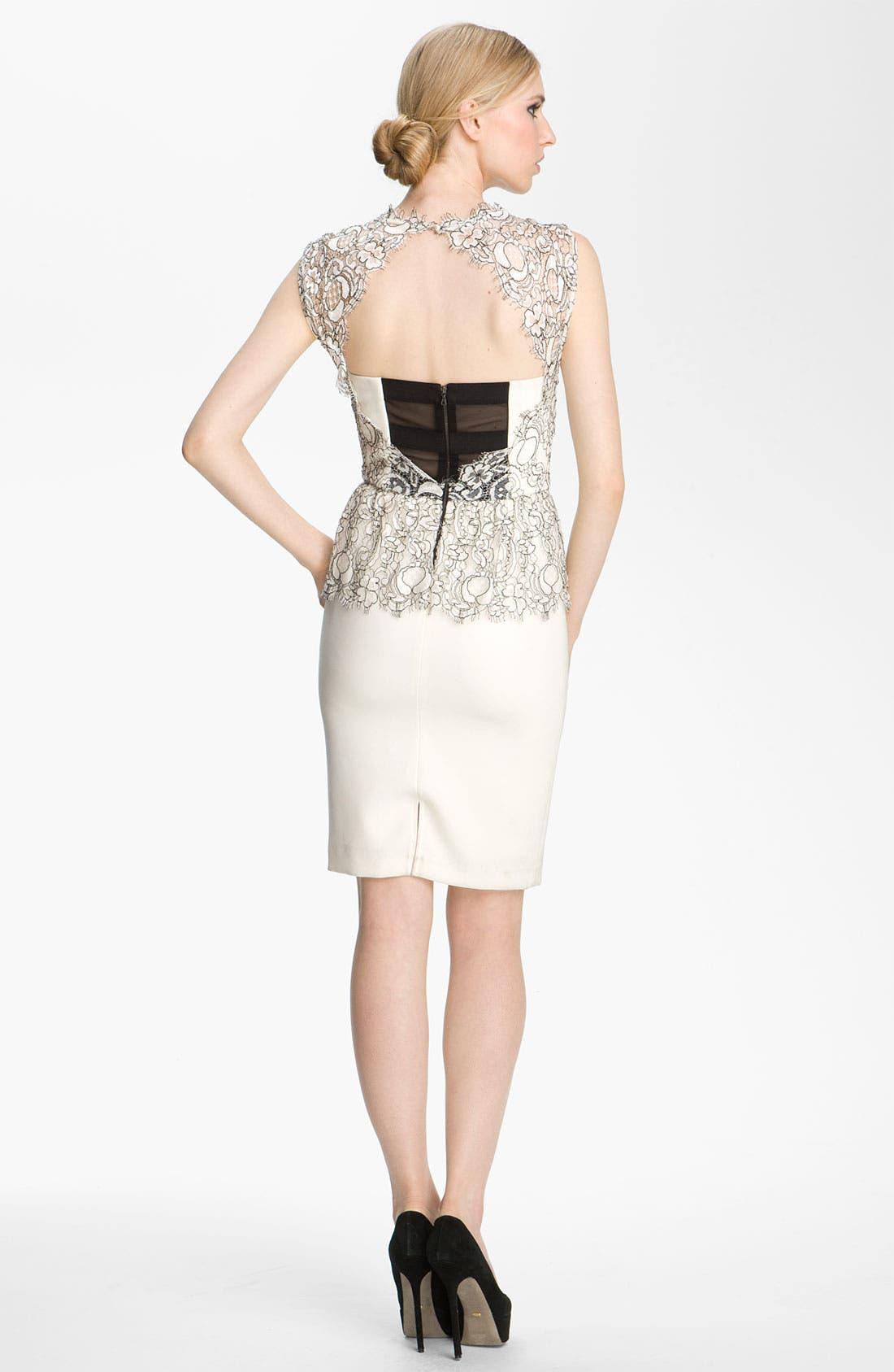 Alternate Image 2  - Alice + Olivia 'Shovan' Lace Overlay Peplum Dress