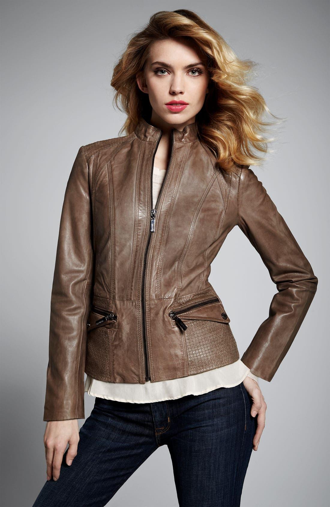 Alternate Image 5  - Bernardo Topstitch Leather Jacket