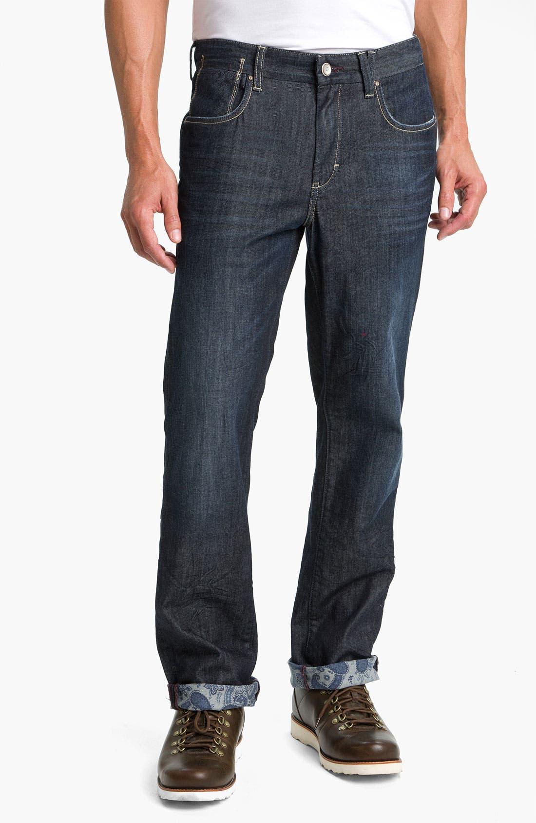 Main Image - Tommy Bahama Denim 'Antonio' Authentic Straight Leg Jeans (Crinkle Dark)