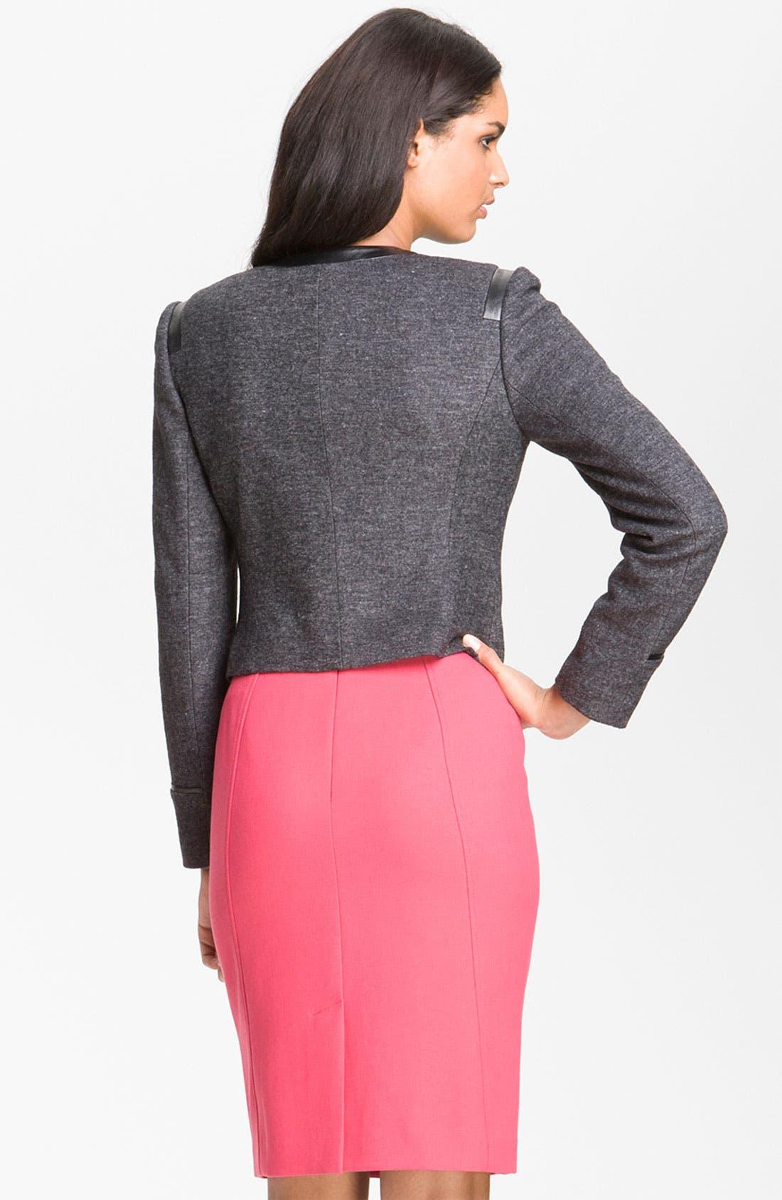 Alternate Image 2  - Halogen® Faux Leather Trim Jacket