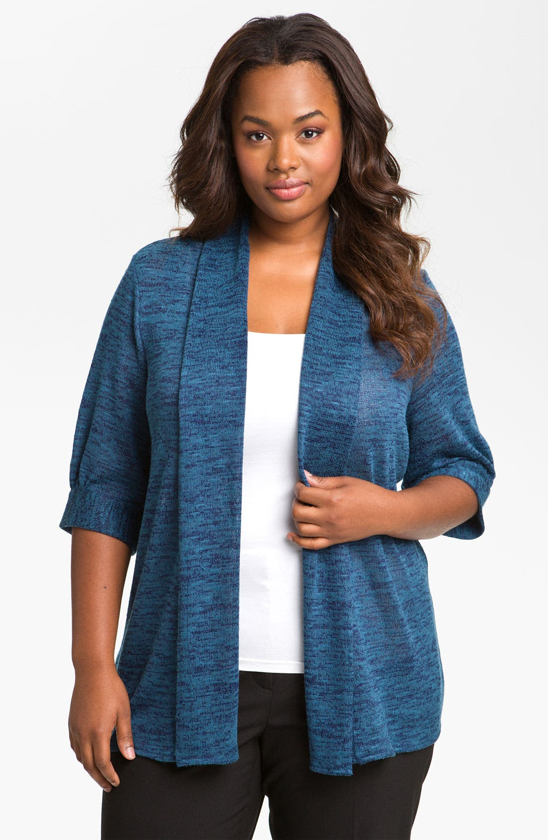 Main Image - Sejour Open Front Knit Cardigan (Plus)