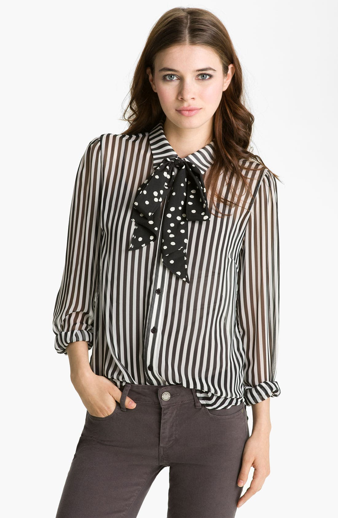Main Image - Bellatrix Mix Print Tie Neck Shirt